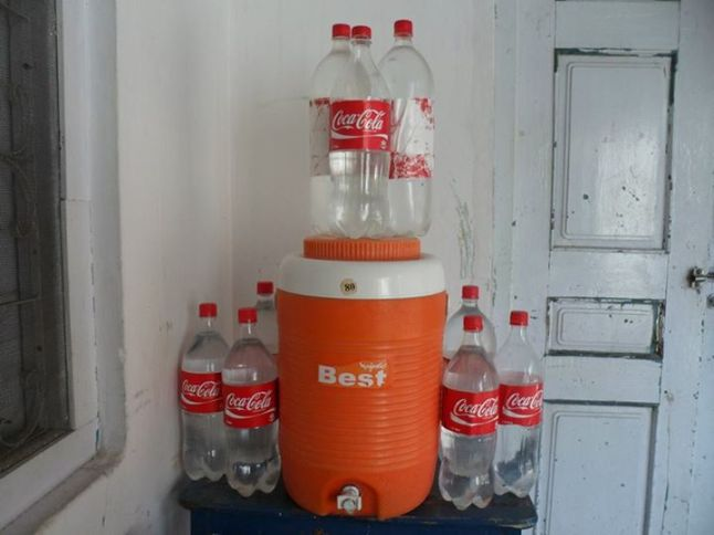 I was alone at home. I wanted to do something creative then I saw a water pot and many bottles LOL